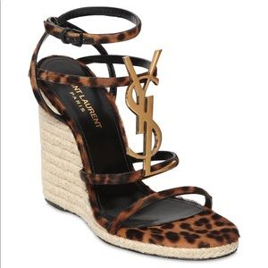 YSL Cassandra leopard espadrille logo wedge sandal